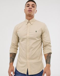 Read more about Polo ralph lauren slim fit stretch poplin button down shirt in tan with player logo