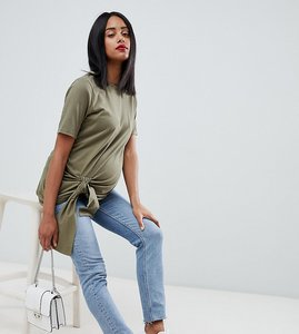 Read more about Asos design maternity knot front t-shirt - khaki green