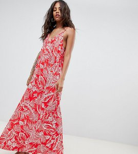 Read more about Asos design tall gathered maxi dress in palm print - multi