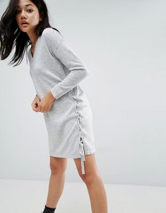 Read more about Asos jumper dress with v neck and lace up sides - grey