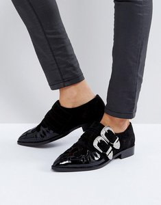 Read more about Asos misdemeanor leather monk shoes - black