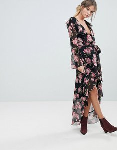 Read more about Miss selfridge rose printed wrap dress - multi