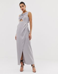 Read more about Asos design pearl trim twist front maxi dress - mink