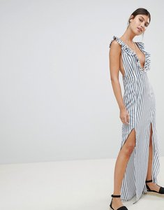 Read more about Prettylittlething striped plunge maxi dress - white and blue