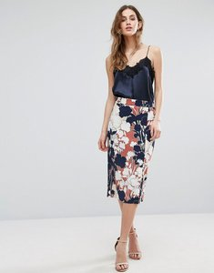 Read more about Warehouse floral print wrap detail skirt - copper col