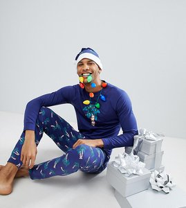 Read more about Off-duty christmas lights pyjama set with hat - navy