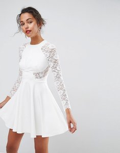 Read more about Asos premium mini scuba skater dress with lace sleeves - white