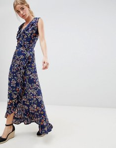 Read more about Qed london floral print wrap maxi dress with frill - navy