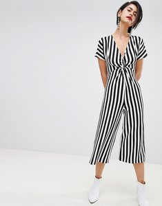 Read more about Stradivarius ribbed stripe print twist front jumpsuit - multi