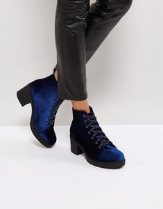 Read more about Truffle collection mid heel lace up boot - blue velvet