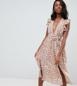 Read more about Glamorous tall sleeveless midi dress with flutter sleeves in smudge spot print - tan spot