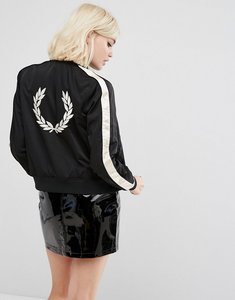 Read more about Fred perry embroidered jacket with contrast sleeve - black