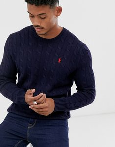 Read more about Polo ralph lauren cable knitted jumper in navy with player logo