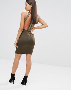 Read more about Tfnc high neck bodycon midi dress with gold embellishment - khaki gold