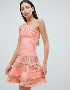 Read more about Forever unique structured one shoulder skater dress with lace inserts - peach