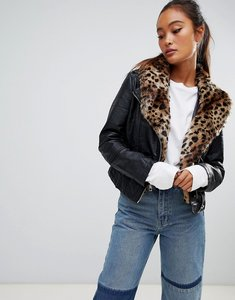 Read more about Parisian faux leather jacket with leopard collar - black leopard