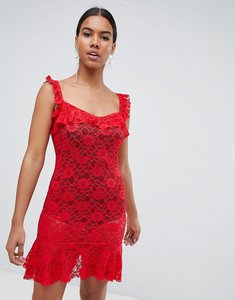 Read more about Missguided lace frill ruched mini dress - red