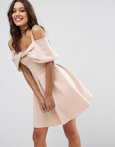 Read more about Asos bow front off the shoulder bardot skater mini dress - nude