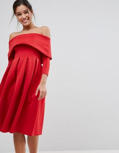 Read more about Asos bardot long sleeve dip back midi prom dress - red