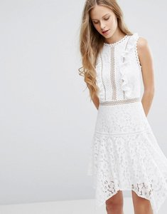 Read more about Miss selfridge asymmetric hem lace dress - white