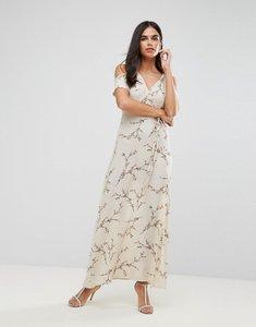 Read more about Ax paris cold shoulder floral maxi dress with tie waist - cream