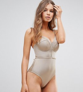 Read more about Asos fuller bust exclusive lattice plunge swimsuit dd-g - toffee shiny