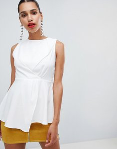 Read more about Prettylittlething high neck peplum top - white