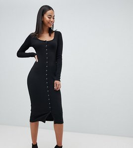 Read more about Missguided tall button down midi dress - black
