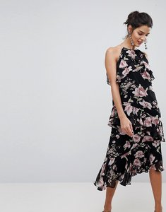 Read more about Y a s floral high neck midi dress with ruffles