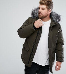 Read more about Devils advocate plus premium parka with japanese faux fur hood coat - green