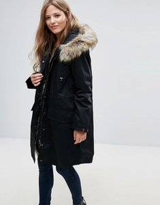 Read more about French connection frost faux fur trim hooded parka - black