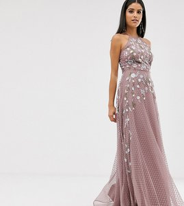 Read more about Asos design tall maxi dress with pinny bodice in embroidered dobby