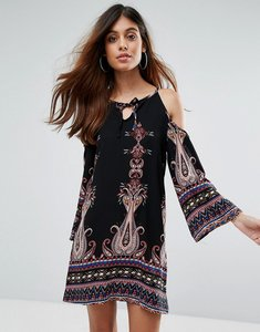 Read more about Love other things boho cold shoulder mini dress - black print
