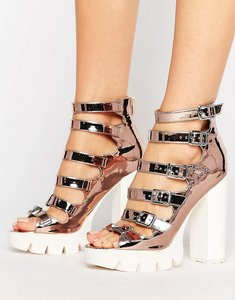 Read more about Asos olanda strappy heeled shoes - nude metallic