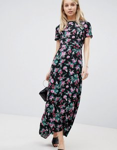 Read more about Asos maxi dress with open back in dark floral print - multi