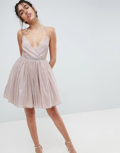 Read more about Asos metallic tulle mini dress - metallic nude