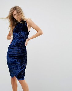 Read more about Ax paris ruched crushed velvet midi dress - midnight