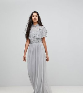 Read more about Frock and frill tall premium embellished top high neck maxi dress - grey silver