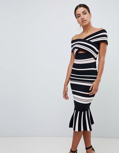 Read more about Forever new cut out bardot dress in stripe