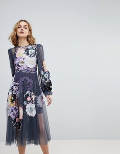Read more about Asos edition smock dress with applique embellished flowers - grey