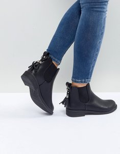 Read more about Lost ink black tassel detail chelsea boots - black