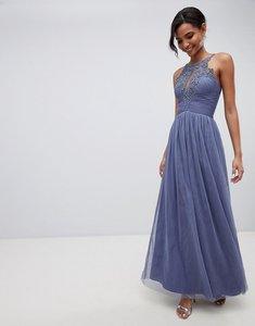Read more about Little mistress floral applique maxi dress - lavender grey