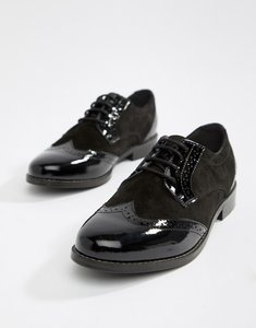 Read more about Dune london foxxy lace up leather brogue shoes - black leather mix
