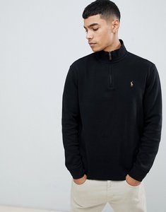 Read more about Polo ralph lauren half zip cotton knit jumper with multi player logo in black - polo black