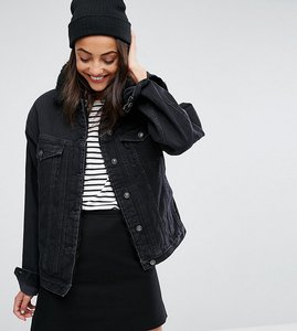 Read more about Asos tall denim borg jacket in washed black - washed black