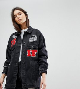 Read more about Kubban tall as if embroidered oversized denim jacket - black