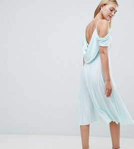 Read more about Asos design tall cold shoulder cowl back pleated midi dress - mint