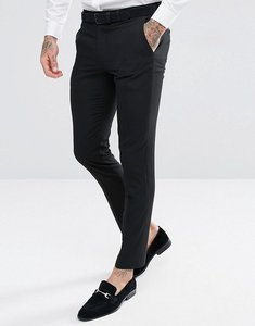 Read more about Harry brown plain black skinny tuxedo suit trousers - black