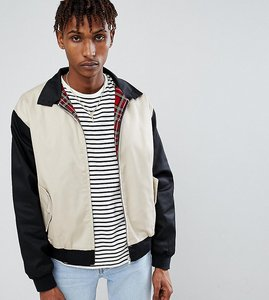 Read more about Reclaimed vintage inspired cut and sew harrington jacket - black ecru