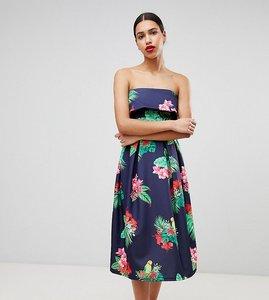 Read more about True violet bandeau midi skater dress - navy tropical floral
